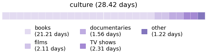 A calendar showing how much time I spent on different subcategories within culture